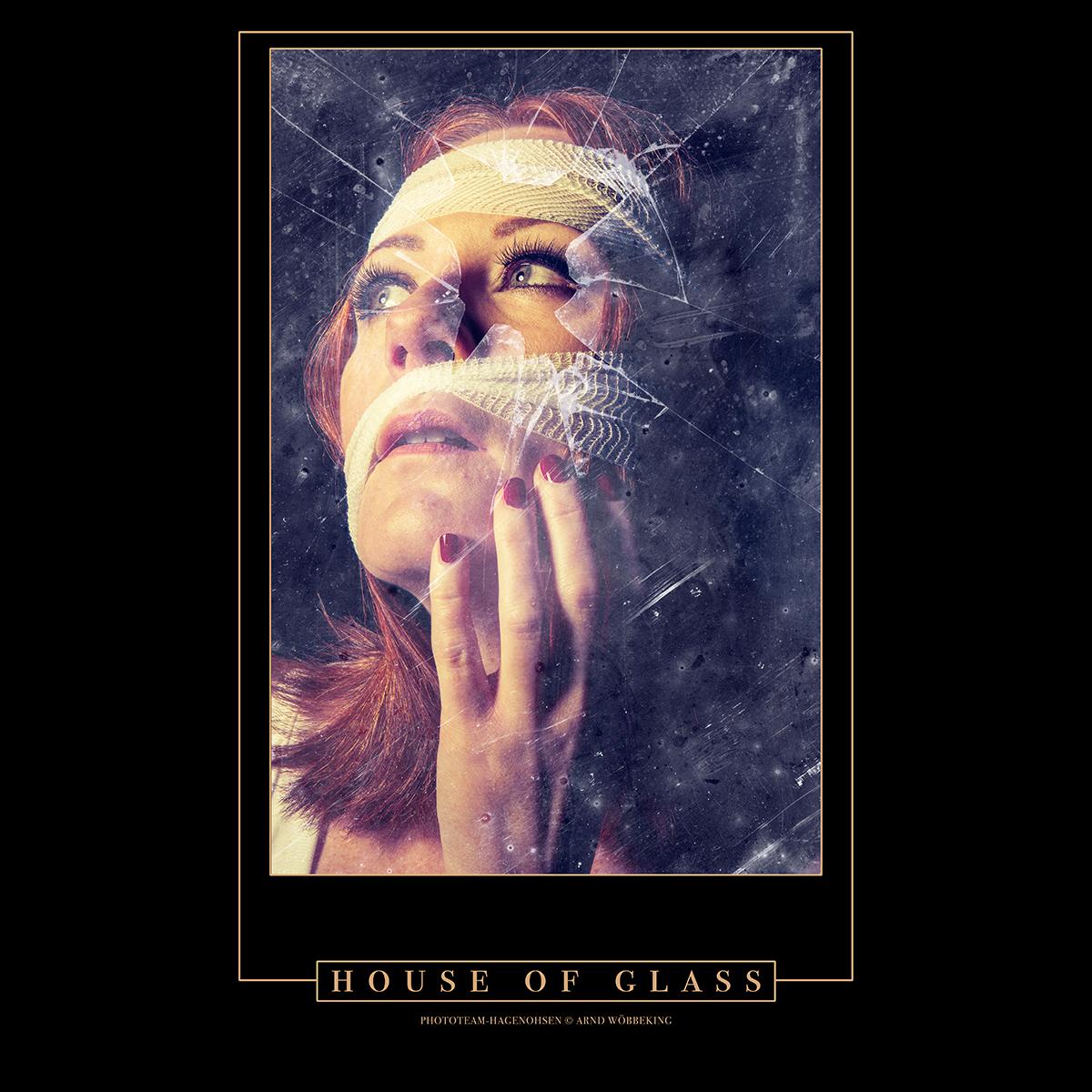 """""""HOUSE OF GLASS"""" + Oft merkst Du, dass Du Dich nur in einem Haus aus Glas befindest. Du denkst, Du bist stark. Doch dann merkst Du, dass Deine Stärke Risse bekommt; erst ganz kleine, die durch negative Energien zu großen Löchern werden, in Dich eindringen und Deine Emotionen, Gedanken und Kreativität vernichten. Das Leben ist wie das Leben in einem Haus aus Glas."""